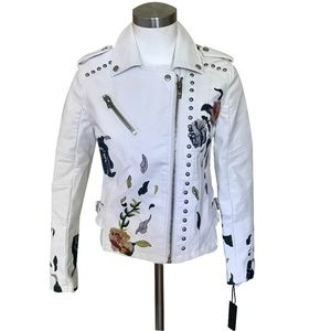NWT Blank NYC White Floral Leather Jacket